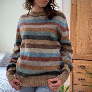 7eab239e1af74f Vintage Sweaters - Vintage Multi Color Striped Wool Sweater